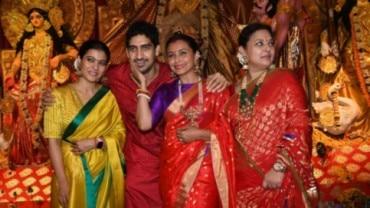 Kajol and Rani Mukerji at Durga Puja