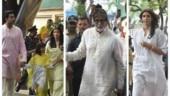 Amitabh Bachchan steps out with Aaradhya, Aishwarya-Abhishek and Shweta on birthday. See pics