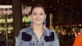 Urvashi Rautela in purple sequined jacket shows how not to do denim look at airport. See pics