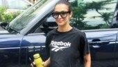 Malaika Arora pulls a Kim Kardashian in crop top and biker shorts at yoga class