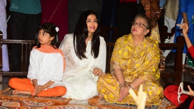 Aishwarya Rai with daughter Aaradhya and mom Brindya.
