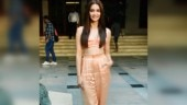 Kriti Kharbanda in peach co-ords for Pagalpanti promotions is day look done right. See pics