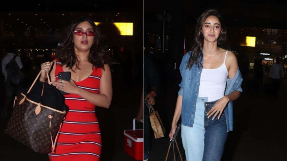 Bhumi Pednekar and Ananya Panday at Mumbai airport Photo: Yogen Shah