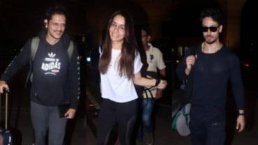 Shraddha Kapoor, Vijay Varma and Tiger Shroff were spotted at Mumbai airport on Friday morning.