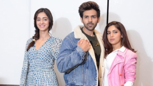 Ananya Panday, Kartik Aaryan and Bhumi Pednekar Photo: Yogen Shah