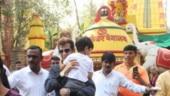 Jeetendra visits Shani temple in Mumbai with grandson Laksshya. See pics