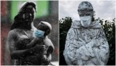Coronavirus outbreak: Statues around the world wear face masks and gloves. See pics