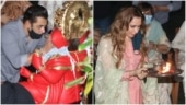 Salman Khan bids adieu to Ganpati Bappa with his family. Iulia Vantur attends arti