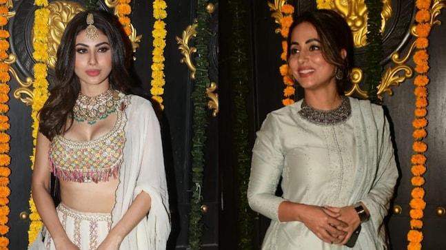 Mouni Roy and Hina Khan looked ravishing at Ekta Kapoor's Diwali bash.