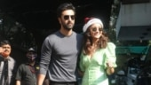 Alia Bhatt in green button-down dress is all smiles with Ranbir Kapoor
