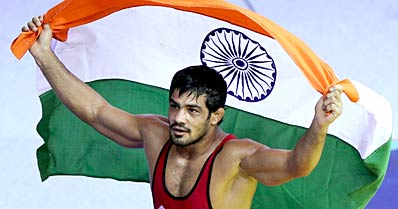 Sushil Kumar wins gold in wrestling