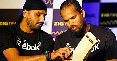 Harbhajan Singh and Yusuf Pathan in New Delhi