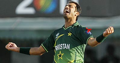 Wahab Riaz celebrates after scalping MS Dhoni. AP