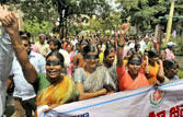 Pro-Telangana protesters in Hyderabad.