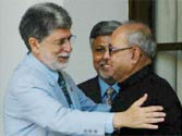 Pranab with Brazilian Foreign Minister Celso Amorim