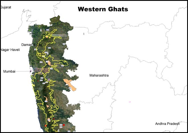 Map of the Western Ghats