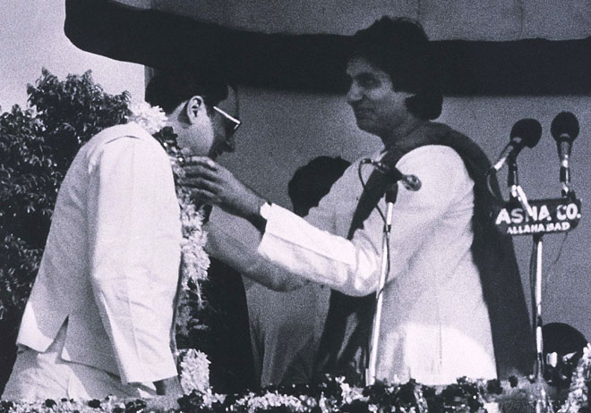 A file picture of Amitabh Bachchan and Rajiv Gandhi at an election rally