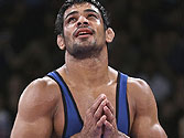 Sushil Kumar thanks the Almighty after winning a bout