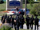 Police outside the gurdwara in Wisconsin