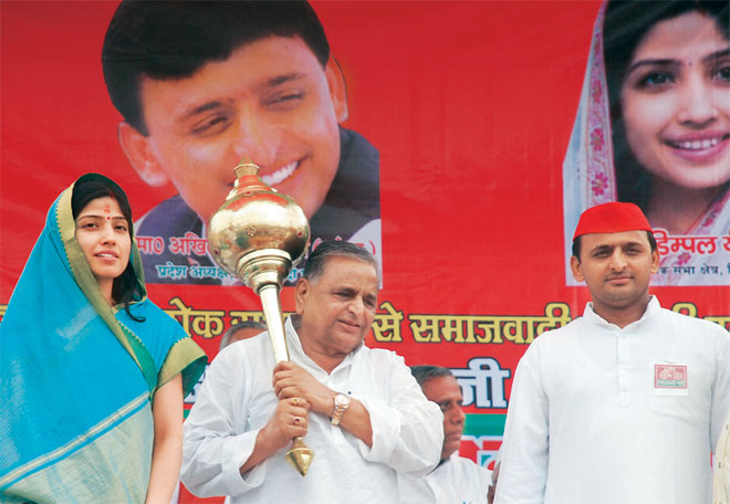 Mulayam Singh Yadav (in the picture with, from left, daughter-in-law Dimple and son Akhilesh)