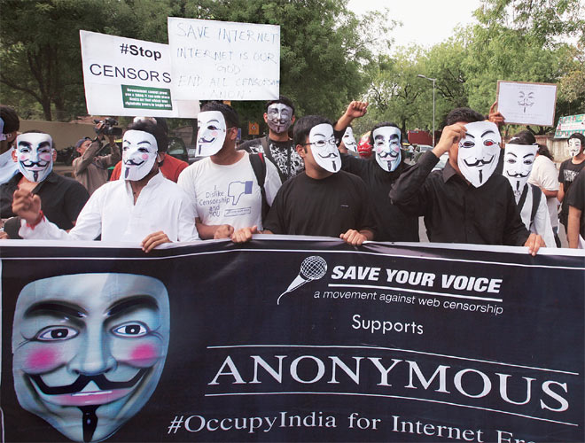 Anonymous members protest in Delhii