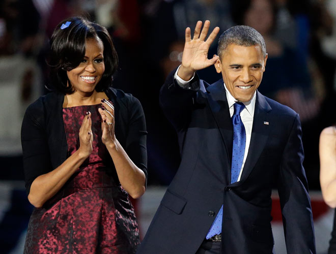 US President Barack Obama with first lady Michelle Obama