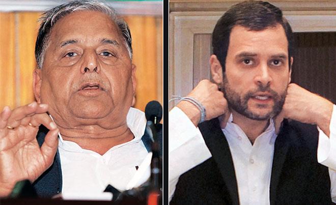 Mulayam Singh Yadav (left); Rahul Gandhi