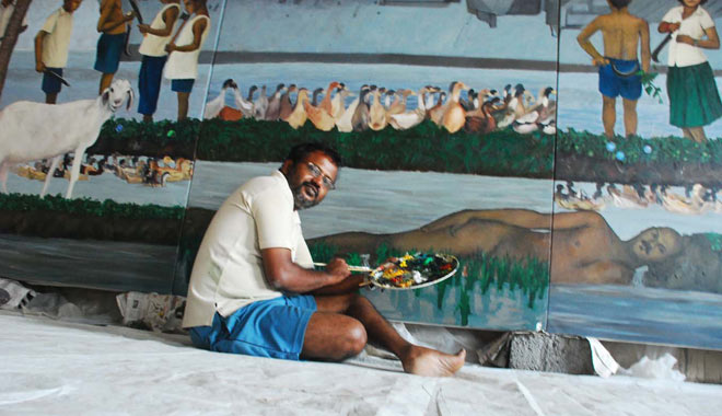 K.P. Reji with an untitled painting