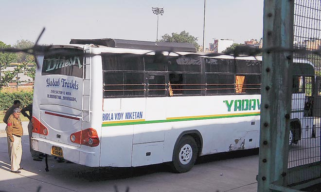 Bus with tinted glasses