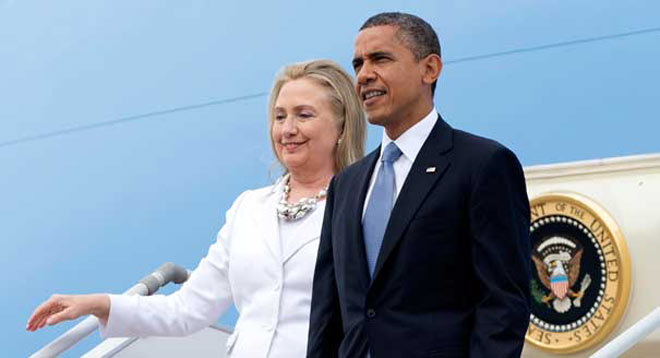 (Left) Hillary Clinton and Barack Obama