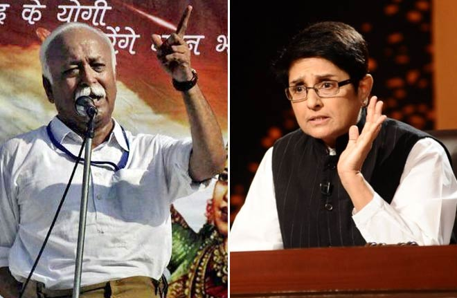 (Right) Kiran Bedi and Mohan Bhagwat