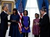 Barack Obama sworn in for second term as president in brief ceremony