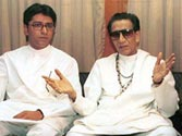 Bal Thackeray with Uddhav (right) and Raj (left)