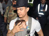 Aamir takes Kiran, son along for shoot