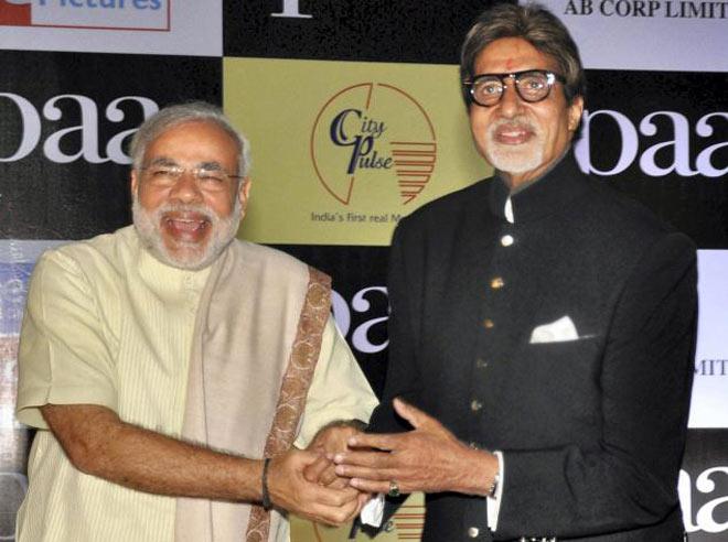 (Left) Narendra Modi and Amitabh Bachchan