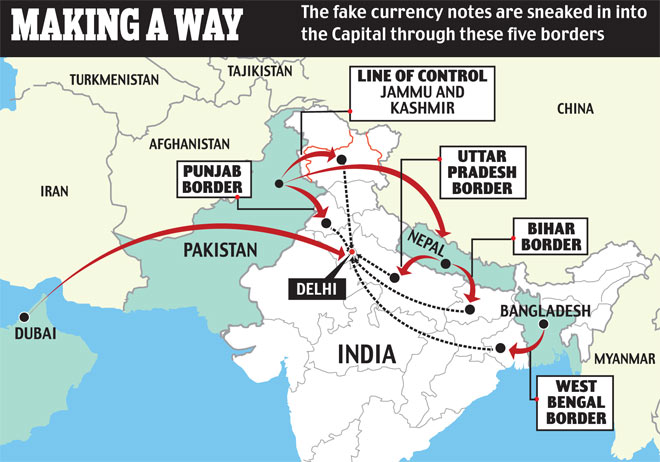 Fake currency being pumped by Pakistan into the capital puts