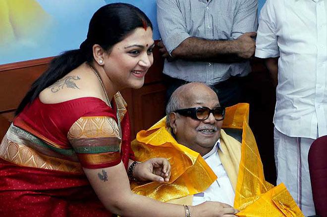 Khushboo with Karunanidhi