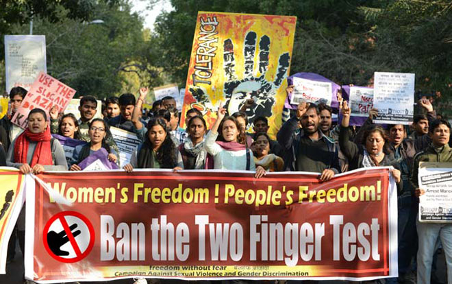 Protests to ban the two finger test.