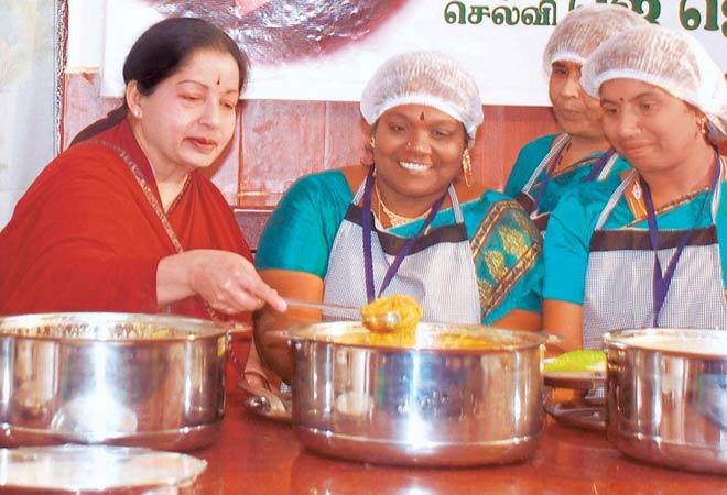 Tamil Nadu Chief Minister Jayalalithaa at Amma's Canteen.