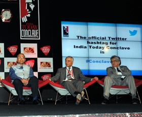 (From Left) Dr. Abhishek Manu Singhvi, Kanwal Sibal and Harish Salve