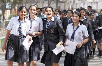 Students express happiness after the examination.