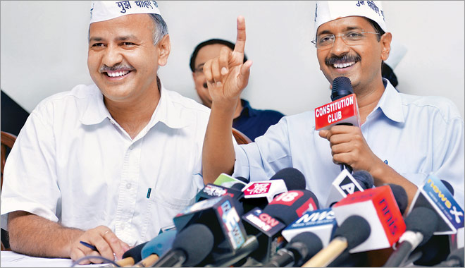 Arvind Kejriwal (right) with Manish Sisodia