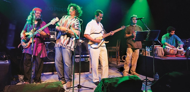 Indian Ocean performing at a concert