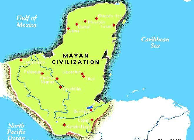 A map showing Mayan civilisation
