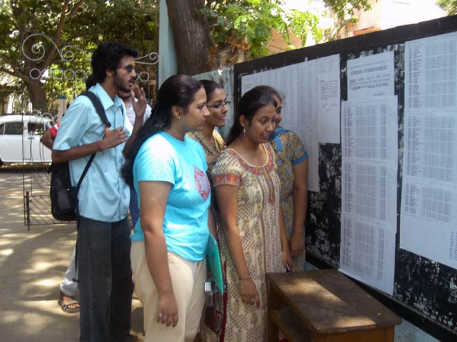 Students checking their results