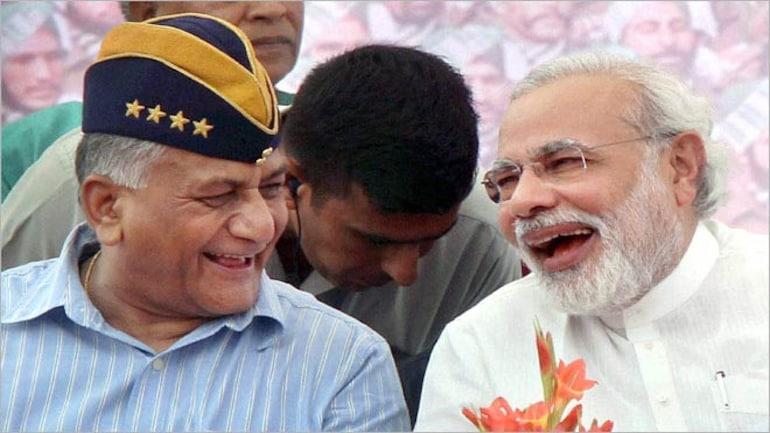General (retired) V.K. Singh with Narendra Modi