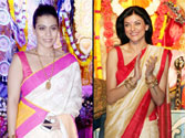 Bengali beauties Kajol and Sushmita revel in Durga Puja celebrations