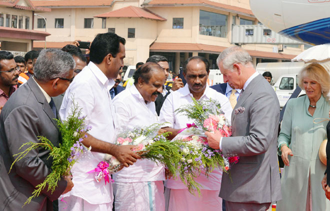Kerala Ministers Welcome Prince Charles And His Wife Camilla Parker Bowles