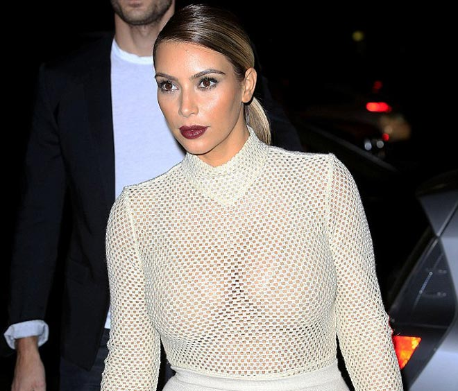 Kim Kardashian Wears A See Through Dress Shows Off Major