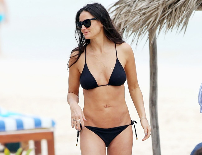 Actor Demi Moore Flaunted Her Perfect Beach Body In A Bikini While On The Beaches Of Tullum Mexico